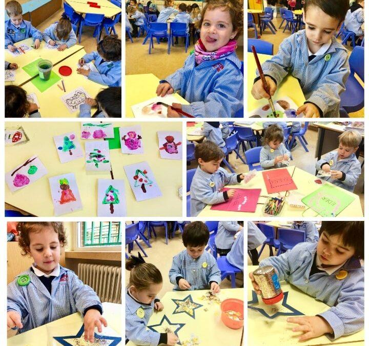 1º de Educación Infantil elabora postales navideñas