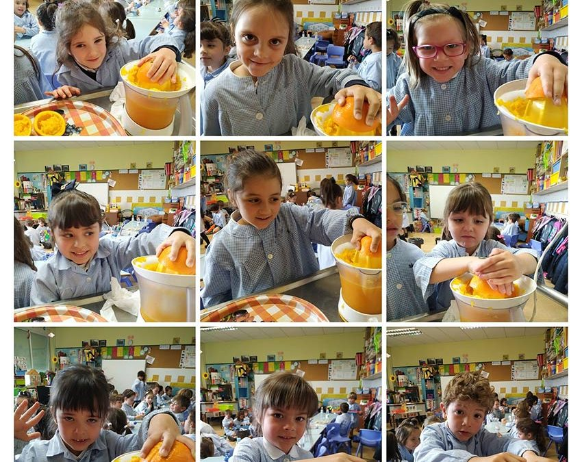 3º de Infantil, línea A, prepara zumo de naranja